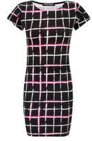 Select Fashion Fashion Womens Pink Fluro Grid Bodycon Dress - size 6