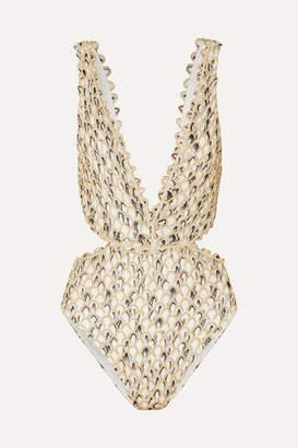 Missoni Cutout Metallic Crochet-knit Swimsuit - Gold