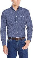Wrangler Men's George Strait One-Pocket Long-Sleeve Blue Woven Shirt