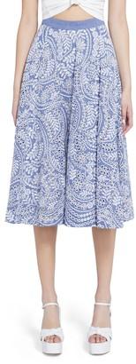 Alice + Olivia Parcell Paisley Flared Midi Skirt