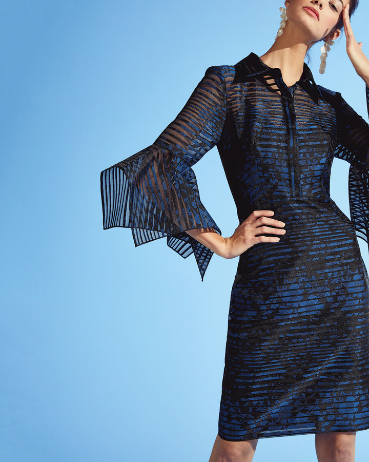 Thumbnail for your product : Badgley Mischka Sheer Striped Trumpet-Sleeve Shirtdress