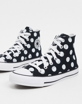 Converse Chuck Taylor Hi polka dot trainers in black with glitter logo