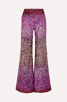 Halpern Degrade Sequined Tulle Flared Pants - Pink