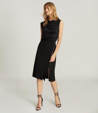Reiss Vanessa - Pencil Skirt With Zip Detail in Black