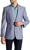 Tommy Hilfiger Blue Dotted Two Button Notch Lapel Chambray Jacket