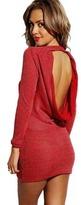 Queen Trends Bold Red Metallic Sweater Dress