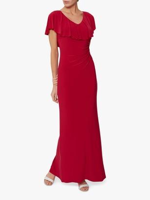 Gina Bacconi Bellina Ruffle Neckline Maxi Dress, Magenta