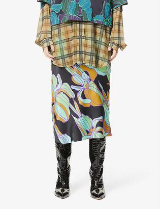 Dries Van Noten Floral-print high-rise silk-blend midi skirt