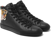 Gucci Appliquéd Grained-leather High-top Sneakers