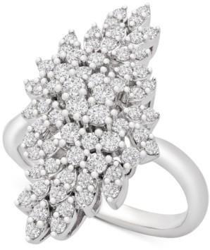 Wrapped in Love Diamond Cluster Statement Ring (1 ct. t.w.) in 14k White Gold, Created for Macy's