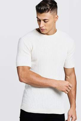 boohoo Muscle Fit Short Sleeve Ribbed Knitted T-Shirt