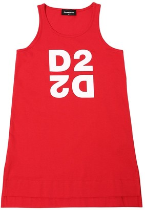 DSQUARED2 Logo Print Cotton Jersey Dress