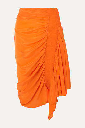 Preen Line Rosa Asymmetric Shirred Crepe De Chine Skirt - Orange