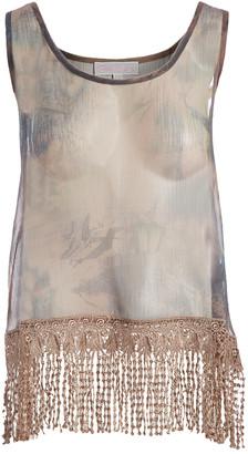 Pretty Angel Women's Blouses EC - Ecru Sheer Fringe-Trim Silk-Blend Scoop Neck Tank - Women