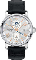 Montblanc 4810 Dual Time stainless steel and leather chronograph watch