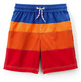 Lands' End Toddler Boys Colorblock Swim Trunks-Chocolate Brown Hibiscus
