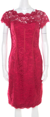 Monique Lhuillier ML by Pink Floral Lace Scalloped Trim Cut Out Back Detail Dress M