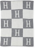 Butterscotch Blankees Personalized Check Colorblock Baby Blanket, Gray
