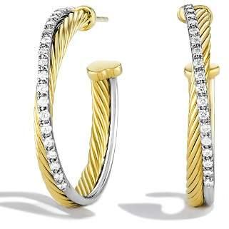 David Yurman Crossover Medium Hoop Earrings with Diamonds in Gold
