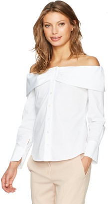 Trina Turk Women's Parisa Polished Shirting Off The Shoulder Button Down