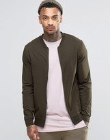 Asos Muscle Fit Jersey Bomber Jacket In Khaki