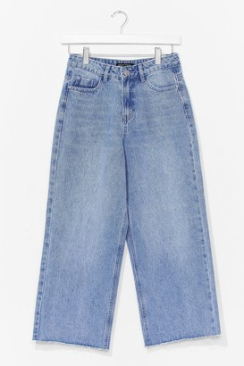 Nasty Gal Womens Wide Leg Cropped Jeans - Blue - 8
