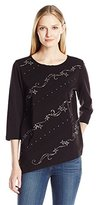 Alfred Dunner Women's Diagonal Printed Shirt with Embellishment