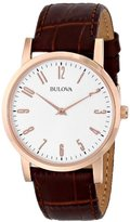 Bulova Dress Men's Quartz Watch with Off-White Dial Analogue Display and Brown Leather Strap 97A106