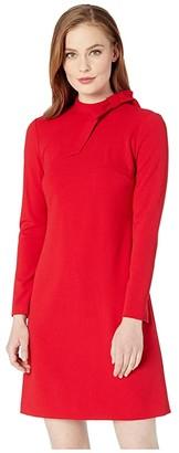 Calvin Klein Long Sleeve Sheath Dress w/ Neck Tie (Red) Women's Dress
