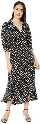 Kate Spade Cloud Dot Wrap Dress (Black) Women's Dress