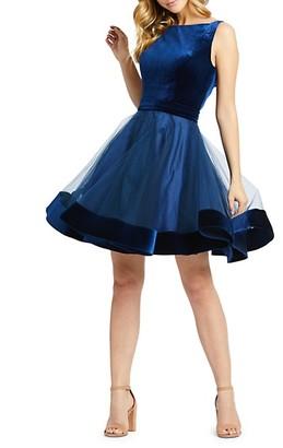 Mac Duggal Velvet Fit-&-Flare Cocktail Dress