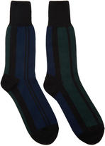 Sacai Navy and Green Striped Socks