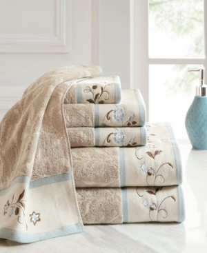 Madison Home USA Cotton 6-Pc. Embroidered Serene Jacquard Towel Set Bedding