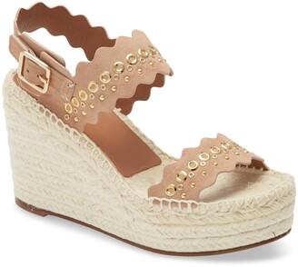 Chloé Lauren Grommet Stud Scalloped Wedge Platform Sandal