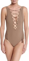 Karla Colletto Entwined Plunge Lace-Up One-Piece Swimsuit, Latte