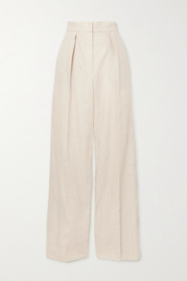 Brunello Cucinelli Pleated Linen-blend Twill Wide-leg Pants - White