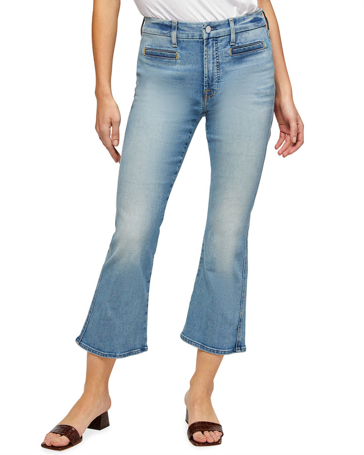 Thumbnail for your product : Jen7 Cropped Kick Flare Jeans with Welt Pockets