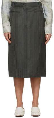 Acne Studios Grey Striped Structured Skirt