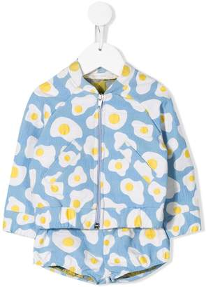 Raspberry Plum egg print bomber jacket