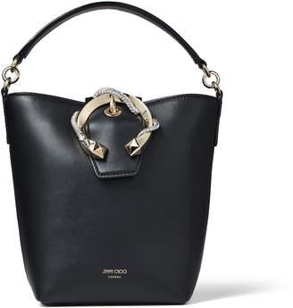 Jimmy Choo MADELINE BUCKET Black Smooth Calf Leather Bucket Bag with Snake Buckle