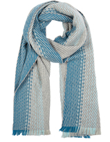 Johnstons of Elgin Teal Ombre Merino Wool and Cashmere-Blend Scarf