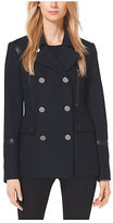 Leather-Trimmed Wool-Blend Peacoat
