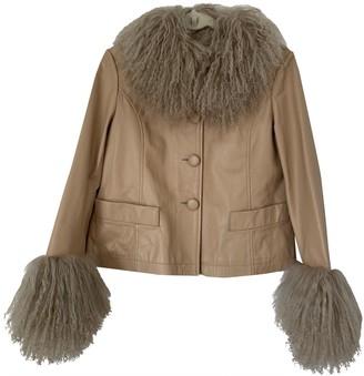 Saks Potts Beige Leather Jacket for Women