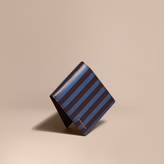Burberry Pyjama Stripe Leather International Bifold Wallet, Blue
