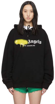 Palm Angels Black and Yellow Los Angeles Sprayed Hoodie