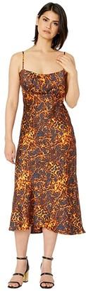 WAYF Fleur Ruched Bodice Slip Dress (Tortoise) Women's Dress