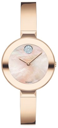 Movado Bold Rose Gold Ion-Plated Stainless Steel Bangle Watch