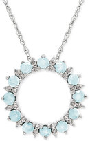 Macy's Aquamarine (3/4 ct. t.w.) and White Topaz (1/5 ct. t.w.) Circle Pendant Necklace in Sterling Silver