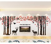 YPF Wall sticker Buggy Forest deer creative 3D crystal solid acrylic wall tree decoration sofa bedroom wall posters
