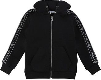 Givenchy Girl's Zip-Front Logo Trim Hooded Sweatshirt, Size 6-10